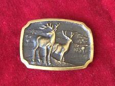 Vintage Bts Solid Brass Deer Hunting Belt Buckle 1980'S Made In Usa