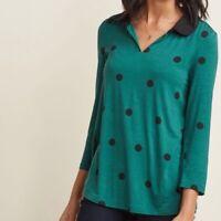 ModCloth Peter Pan Collar Green Polka Dot Top RARE Size L
