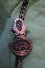 TG-023 - Early Vintage Marcus Lomayestewa Hopi Sterling Silver Bolo Tie  Animal