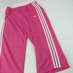 Adidas Athletic Sweat Pants Women's Size M Pink Track Capri Cropped Joggers