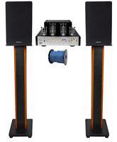 """Rockville BluTube Tube Amplifier+6.5"""" Black Bookshelf Speakers+36"""" Wood Stands"""