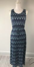 Papermoon Stitch Fix Size M Ikat Pattern Maxi Dress Waters Blue Sleeveless NWOT