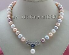 "18"" Natural 12mm Multicolor Round Pearl Necklace Pendant 925silver clasp  #f2380"