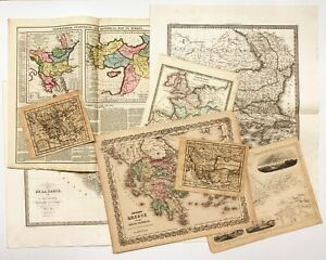 16 vintage maps of Greece & Turkey in Russia. 1759 - 1874.