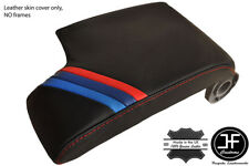 RED STITCH LEATHER ARMREST COVER M3 STRIPES FITS BMW E46 3 SERIES 1998-2005