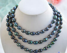 "9-10mm New Tahitian Black Natural Pearl Necklace 48"" AAA"
