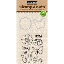 Hero Arts Stamp & Cut Butterfly and Flower #841 DC147 Stamp with Die