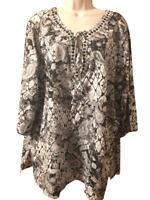 Avenue Women's Blouse NWT Plus 18/20 3/4 Sleeve Beaded Pullover Top