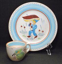 HTF VINTAGE 1960's STANGL KIDDIEWARE BLUE ELF PLATE & CUP