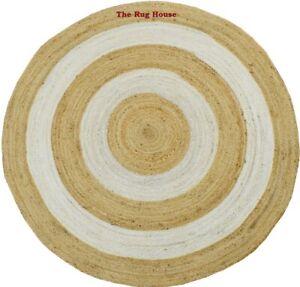 Rug 100% Natural Jute Braided Style 3x3 Feet Carpet Reversible Living Area Rug
