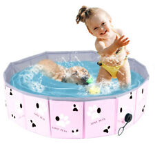Folding Dog Swimming Pool Collapsible Pet Bath Tub Kiddie Pool for Dogs Cats Kid