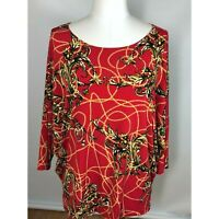 Chicos Size 3 Top Dolman Sleeve Red Easywear Pearl Design Womens XL