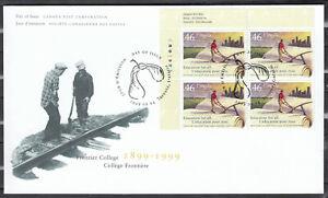 "Canada FDC Scott #1810 PLATE BLOCK Sept 24, 1999  ""Frontier College"" *"