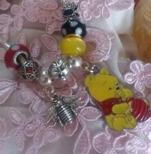 FREE BRACELET New 8pc WINNIE THE  POOH Charms MURANO BEADS Set +POUCH TR4052