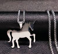 70cm Lange Edelstahl Halskette Kette mit Einhorn Anhänger Geschenk unicorn Charm