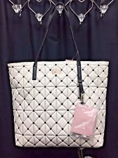 NEW!  BETSEY JOHNSON Quilted Hearts Karen Large TOTE Purse Bag Charm BLACK WHITE