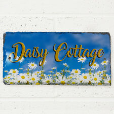Daisy House Slate Personalised Gate Door Sign Cottage Name Number Plaque