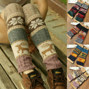 Women Boho Winter Warm Leg Warmers Cable Knit Knitted Crochet High Long Socks