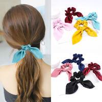 Women Elastic Hair Ring Scrunchie Solid Bow Rabbit Ear Ribbon Hair Accessories
