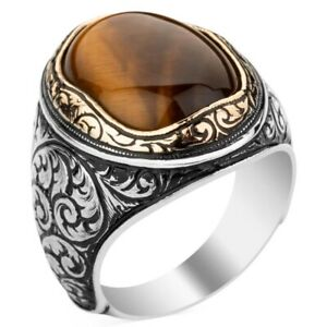 Solid 925 Sterling Silver Oval Cabochon  Tiger's Eye Stone Men's Ring
