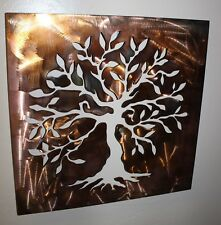 Boxed Olive Tree Panel --Tree of Life Metal Wall Art Decor