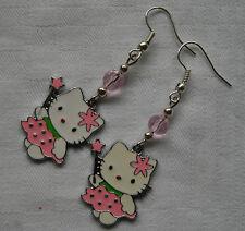 Hecho A Mano Plateado Plata Pendientes De Hello Kitty Rosa Esmalte Cristales De Tapones De Libre
