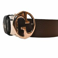 a921030acc6 Gucci Reversible Brown navy Leather Belt With Double G Buckle Size 42 449715
