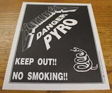 OTTO Backstage Concert Door Sign Metallica DANGER PYRO Wherever We May Roam
