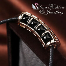 Black Cord Chain With 18K Rose Gold Plated Simulated Agate Stylish Necklace