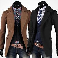 Neu Herren Lang Business Mantel Jacke Sakko Wolle Trenchcoat Coat Jacken Gr:S~XL