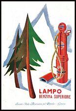 PUBBLICITA' 1931  LAMPO BENZINA AUTO DISTRIBUTORE POMPA ABETI MONTAGNA BENZINAIO