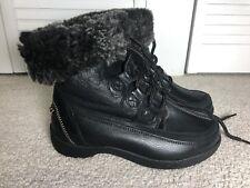 Blondo Alpine Women Winter Boots Black Ankke Lace Up Leather Shearling Size 7.5