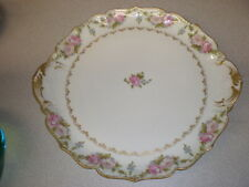 LIMOGES Handled Cake Plate - Pink Roses w/Gold Trim