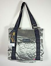 Authentic Belstaff Large Shopping Bag Silver Zippered Top Padded Polyamide NWT