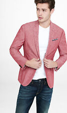 NEW EXPRESS $198 RED LINEN-COTTON SLIM PHOTOGRAPHER JACKET BLAZER SZ 40R