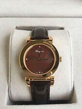 NIB SALVATORE FERRAGAMO Rose Gold Brown MOP Dial Patent Leather Swiss Watch