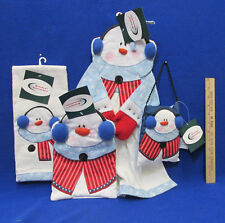 NOS 4 Pc Toasty Snowman Holiday Kitchen Towel Potholder Pillow By G & G Fashion