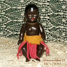 RARE ANTIQUE GERMANY DRP #14/1/2 BLACK AFRICAN CELLULOID MINIATURE 5.5''  DOLL