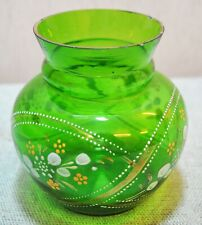 Original Old Antique Hand Crafted Painted Green Glass Pot
