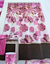 New Clara ~ PINK PURPLE BROWN Large Floral Flower Fabric Shower Curtain MainStay