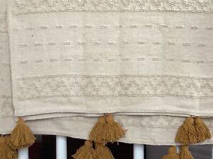 Boho throw by Furn natural cotton Ochra tassels new