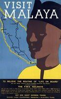 "Vintage Illustrated Travel Poster CANVAS PRINT Visit Malaya 24""X16"""