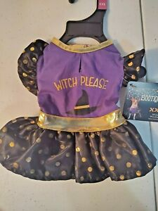 """Bootique Wildly Wicked Dog Costume Size XXS Purple, Gold Dress """"Witch Please"""""""