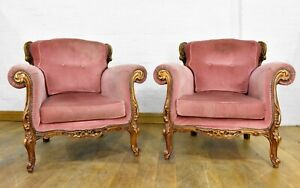 Pair of Italian Rococo style lounge armchairs - carved chairs