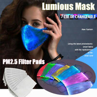 7Color LED Light up Mask Cover USB Rechargeable Glowing Luminous &10 Fliter Pads