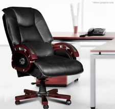 Reclining Genuine Leather Office Executive Computer Chair with Armrest and Wheel
