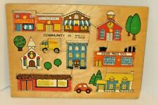 Vintage 1972 FISHER PRICE #502 Community Pick Up & Peek Wooden Puzzle