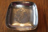 Fruit Bowl Dish A Gorham Silver Original Vintage Square grape floral Silverplate