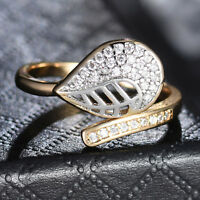 Silver & Gold Filled Leaf Paved Crystal Open Band Adjustable Women Lady Ring BOX