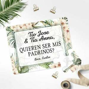 Spanish Godparents Puzzle Proposal - Will You Be My Godparents Invitation
